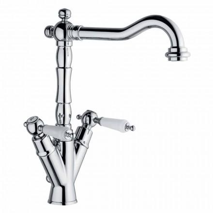 Mezclador de un orificio para lavabo clásico de latón Made in Italy - Shelly