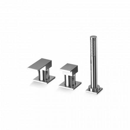 Mezclador de borde para bañera con 3 orificios en latón Made in Italy - Panela