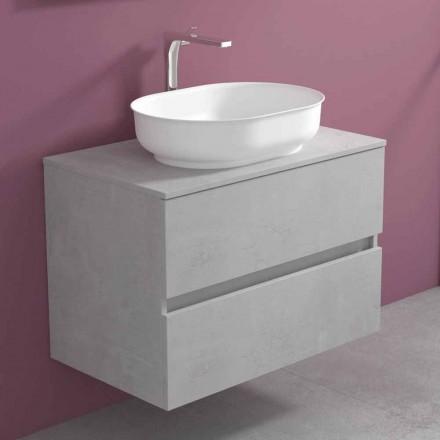 Mueble de baño suspendido con lavabo ovalado, diseño moderno - Cesiro