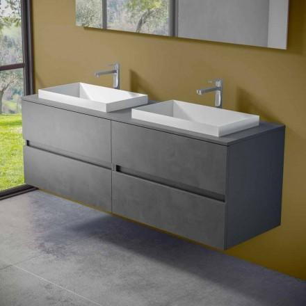 Mueble de baño suspendido con lavabo doble empotrado, diseño moderno - Dumbo