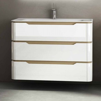 baño con lavabo móvil madera 3 cajones moderno Arya, fabricado en Italia