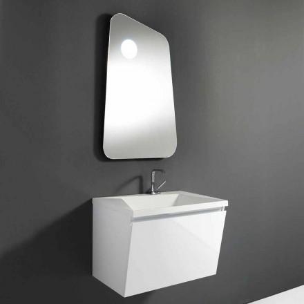Mueble de baño con lavabo y espejo de diseño en madera y mármol mineral - Fausta