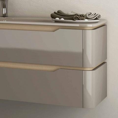 baño móvil con madera integrada disipador de diseño Arya, fabricado en Italia