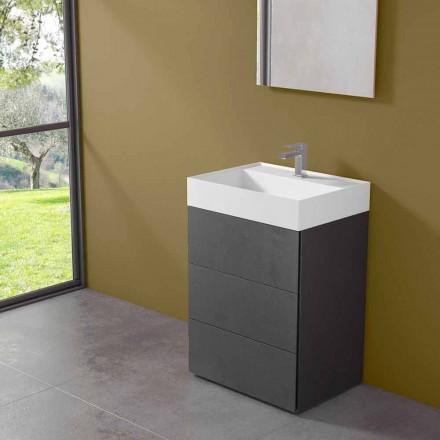 Mueble de baño con suelo de diseño moderno en laminado con lavabo de resina - Pompei