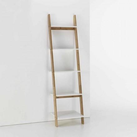 Mueble de baño inclinado con 5 estantes en bambú y MDF - Gianmarco