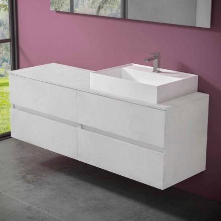 Mueble de baño suspendido con lavabo de encimera de resina de diseño - Alchimeo
