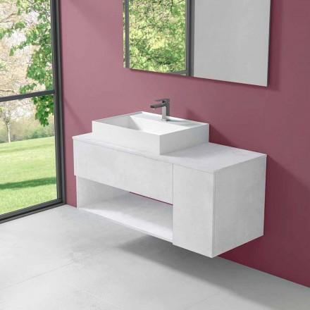 Mueble de baño suspendido de diseño con lavabo sobre encimera de estilo moderno - Pistillo