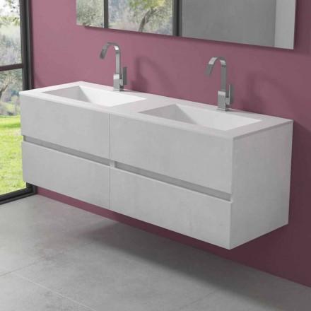 Mueble de baño suspendido con lavabo doble, diseño moderno en 4 acabados - Doblete