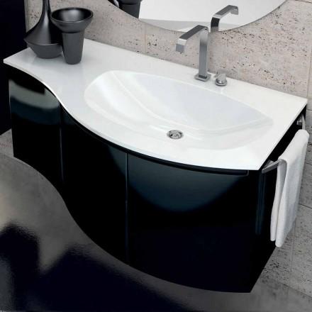 moderno cuarto de baño con lavabo móvil con tres puertas de madera lacada negro Gioia