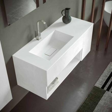 Mueble de Baño Suspendido con Lavabo Integrado, Diseño Moderno, 4 Acabados - Pistillo