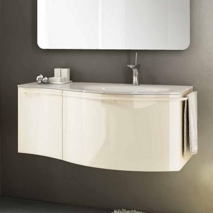 moderno cuarto de baño con lavabo móvil suspendido en madera lacada de color beige alegría 1