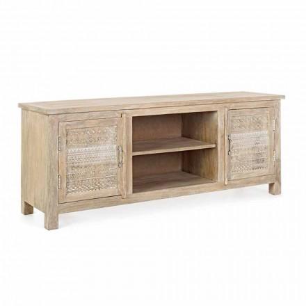 Mueble bajo en madera de mango con decoraciones hechas a mano de Homemotion - Zotto