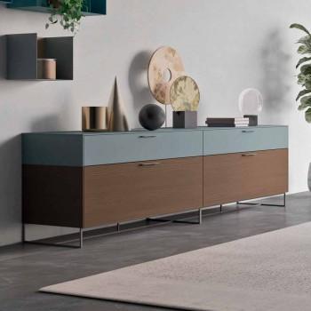Mueble de Salón en Madera Ecológica con Cajones y Tapa Lacada - Tamara