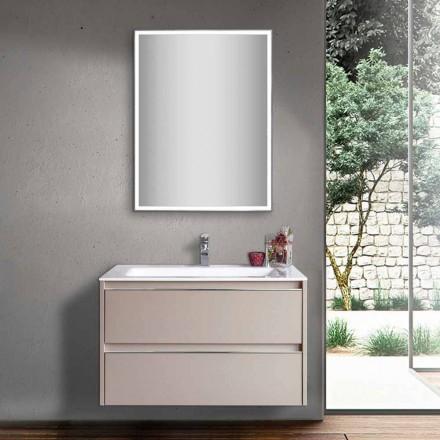 Lavabo de baño gris paloma de madera y mármol mineral con espejo LED - Alfonso
