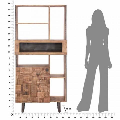 Biblioteca de diseño móvil en madera de hierro y acacia - Desdemona