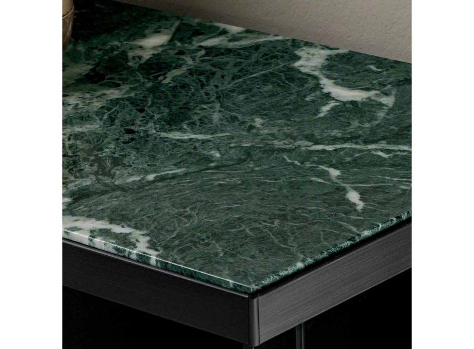 Aparador para salón en vidrio ahumado y mármol verde o rojo con Led - Leonarda