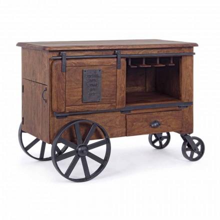 Portabotellas de madera con detalles de acero Homemotion - Brema