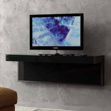 Mueble TV de pared en cristal negro y metal Made in Italy - Americio