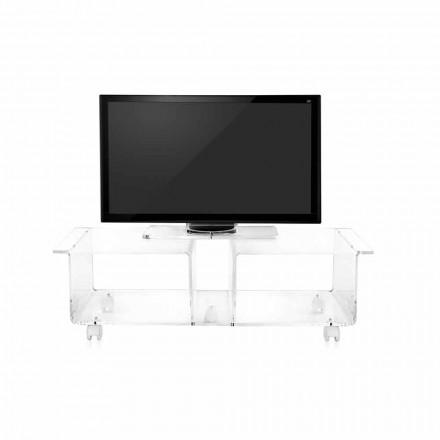 Mueble de televisión de diseño moderno en plexiglás transparente Mago Double