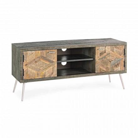 Mueble para TV en madera con asas y pies en acero Homemotion - Adiva