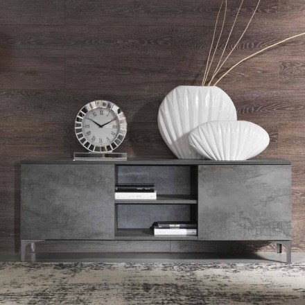 Mueble de televisión moderno de madera de melamina de dos puertas Made in Italy - Clemente