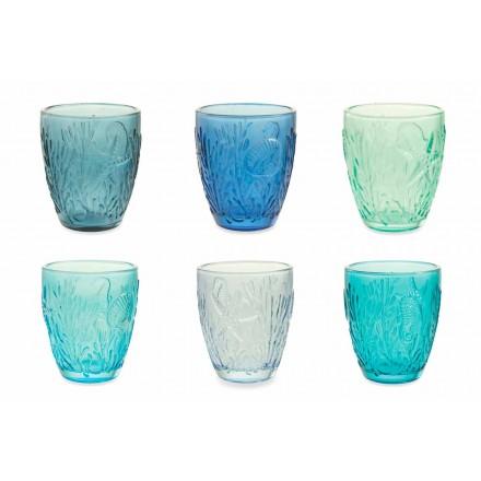 Gafas de color azul moderno 6 piezas de servicio de agua - Mazara