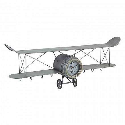Reloj de pared con forma de avión en acero y vidrio Homemotion - Plano