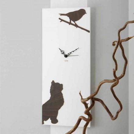 Reloj de pared blanco con decoraciones animales de madera Diseño moderno - Suspenso