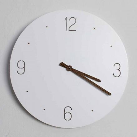 Reloj de pared de diseño clásico en madera blanca redonda cortada con láser - Jovial