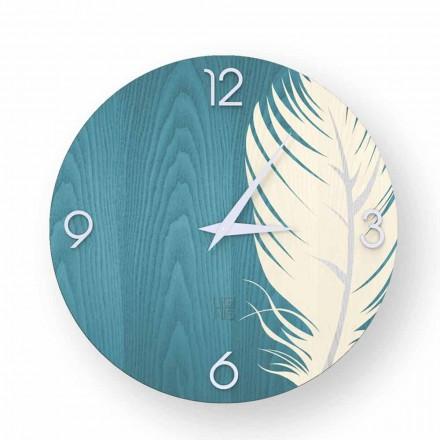 Reloj de pared con diseño moderno en madera Pico, hecho en Italia.