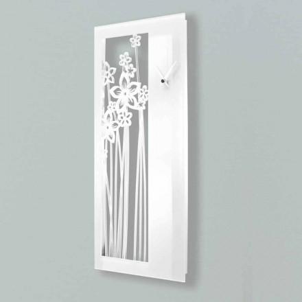 Reloj de pared moderno de diseño rectangular en plexiglás blanco - Elara