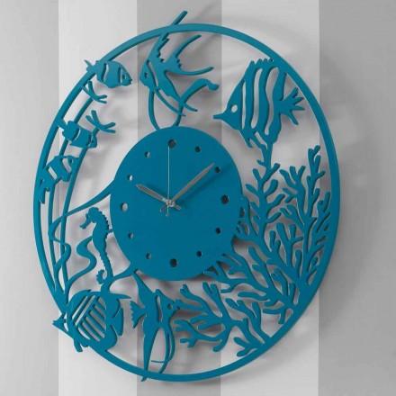 Reloj de pared de madera redondo moderno de colores grandes - Infondoalmar