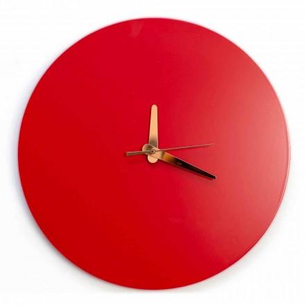 Reloj de pared rojo con diseño italiano redondo y moderno en madera - Callisto