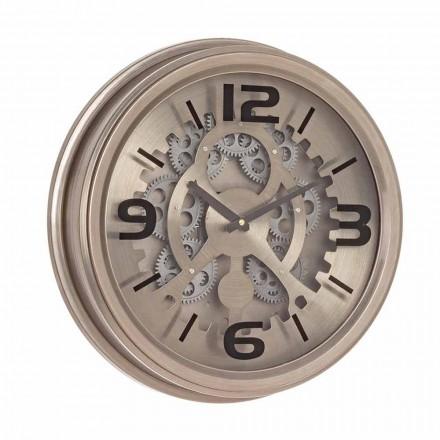 Reloj de pared de estilo clásico en acero y MDF Homemotion - Crudo