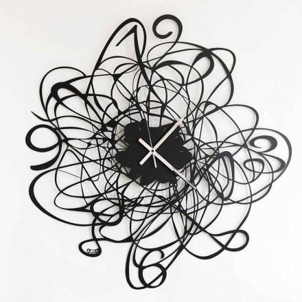 Reloj de pared de diseño moderno en hierro negro o blanco Made in Italy - Baldo