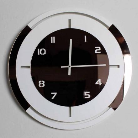 Reloj de pared en madera blanca y decoraciones de bronce de diseño moderno - Mavia