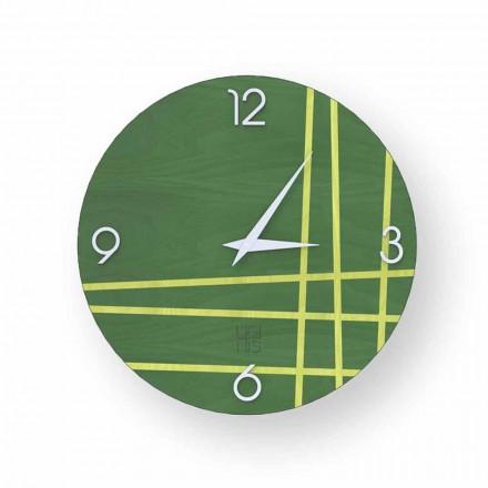 Reloj de pared de madera Gorle, diseño moderno, hecho en Italia.