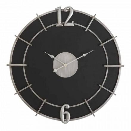 Reloj de pared redondo de diseño moderno en hierro y MDF - Hope