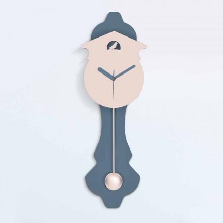 Reloj de péndulo moderno en madera de diseño gris y rosa - Cuco