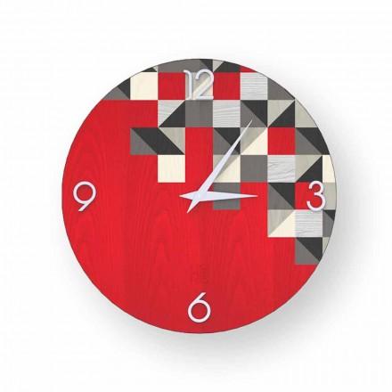 Reloj de pared hecho en Italia de diseño moderno Peia, hecho de madera.