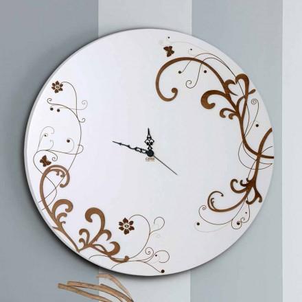 Reloj de pared moderno y redondo de madera con decoraciones de diseño estacional