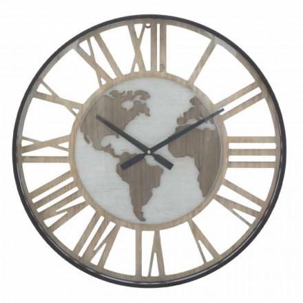 Reloj de pared redondo Diámetro 60 cm Moderno en hierro y MDF - Arnela