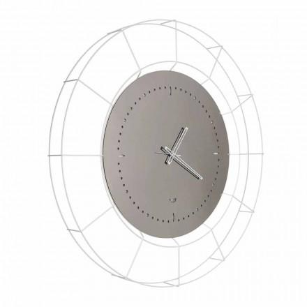 Reloj de pared moderno de espejo en acero blanco hecho en Italia - Adalgiso
