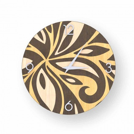 Reloj de pared de diseño moderno realizado en madera Zane, fabricado en Italia.