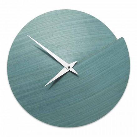 Reloj de pared de diseño moderno en madera natural hecho en Italia - Cratere