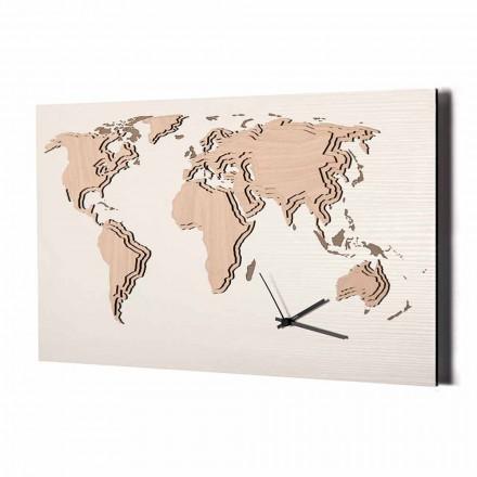 Reloj de pared de madera con decoración de mapa del mundo Made in Italy - Mappo