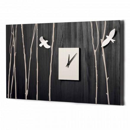 Reloj de pared de madera con decoraciones tridimensionales Made in Italy - Forrest