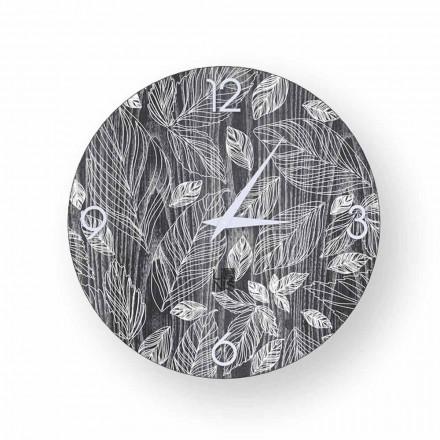 Reloj de pared de madera con diseño moderno Veroli, hecho en Italia.