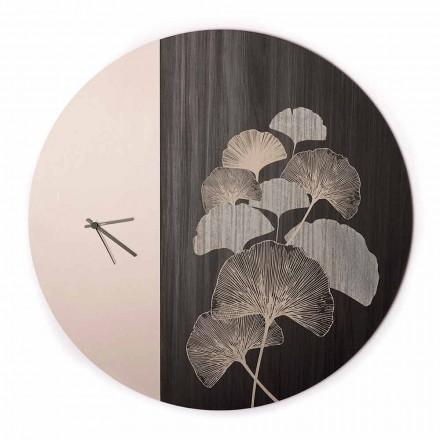 Reloj de pared de madera de diseño redondo con decoraciones, 2 acabados, Made in Italy - Ginkgo
