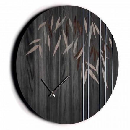 Reloj de pared redondo en madera de roble o pizarra con diseño grabado a láser - Kanno
